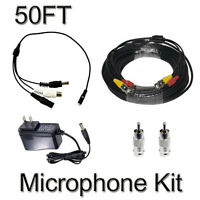 Cctv Microphone Kits For Q-see, Swann Any Surveillance Dvr Security Systems 50ft