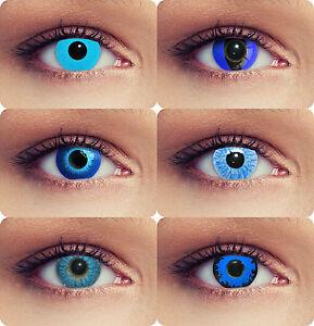 blaue farbige kontaktlinsen f r halloween karneval kost m eisblau elfe geist ebay. Black Bedroom Furniture Sets. Home Design Ideas