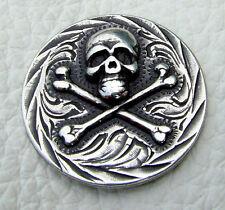 Auffällige Ziernieten Beschlag Skull Duplone Farbe Altsilber No.3 Zum Schrauben