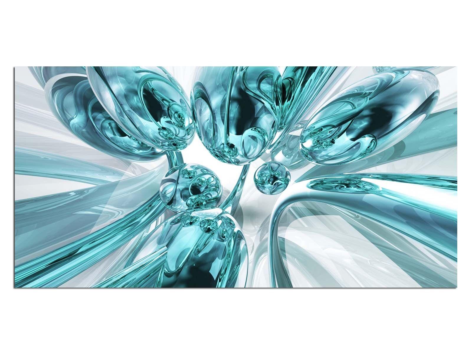 HD Glasbild EG4100500707 BUBBLES DESIGN TÜRKIS 100 x 50 cm Wandbild ABSTRAKT