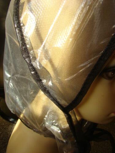 1x Regenhaube Modern,als Regenschutz oder Haarschutz Farbe transparent Schwarz