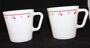 Corning Corelle Pyrex Burgundy Rose Milk Glass Set of 2 Coffee Mug Cup 300ml USA