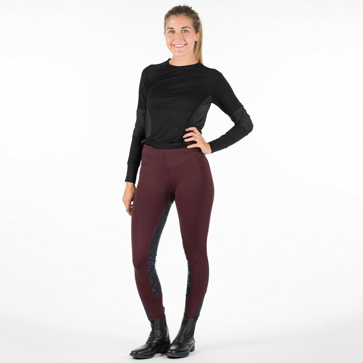 Horze Women's Ladies BURGUNDY Full Seat Silicone Grip English Riding Breeches