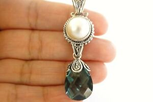 Green-Quartz-White-Mabe-Pearl-Balinese-925-Sterling-Silver-Drop-Pendant