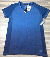 d12af48a $80 Adidas Primeknit Wool Dip-Dye Tee Shirt Women's Sz LARGE Blue NWT AZ2895