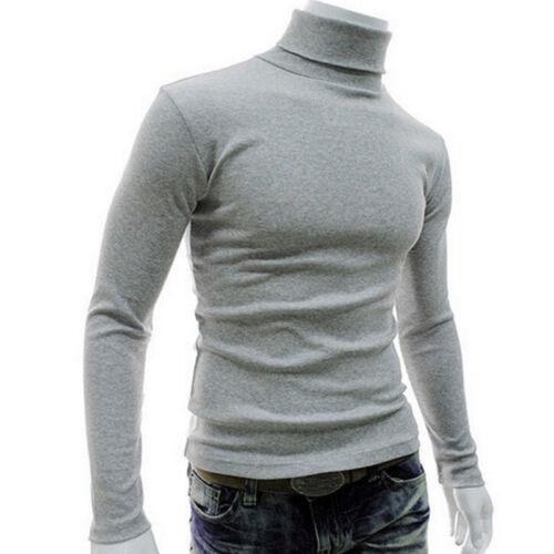 Men Long Sleeve Pullover High Neck Turtleneck Stretch Slim Basic T Shirt Tee Top