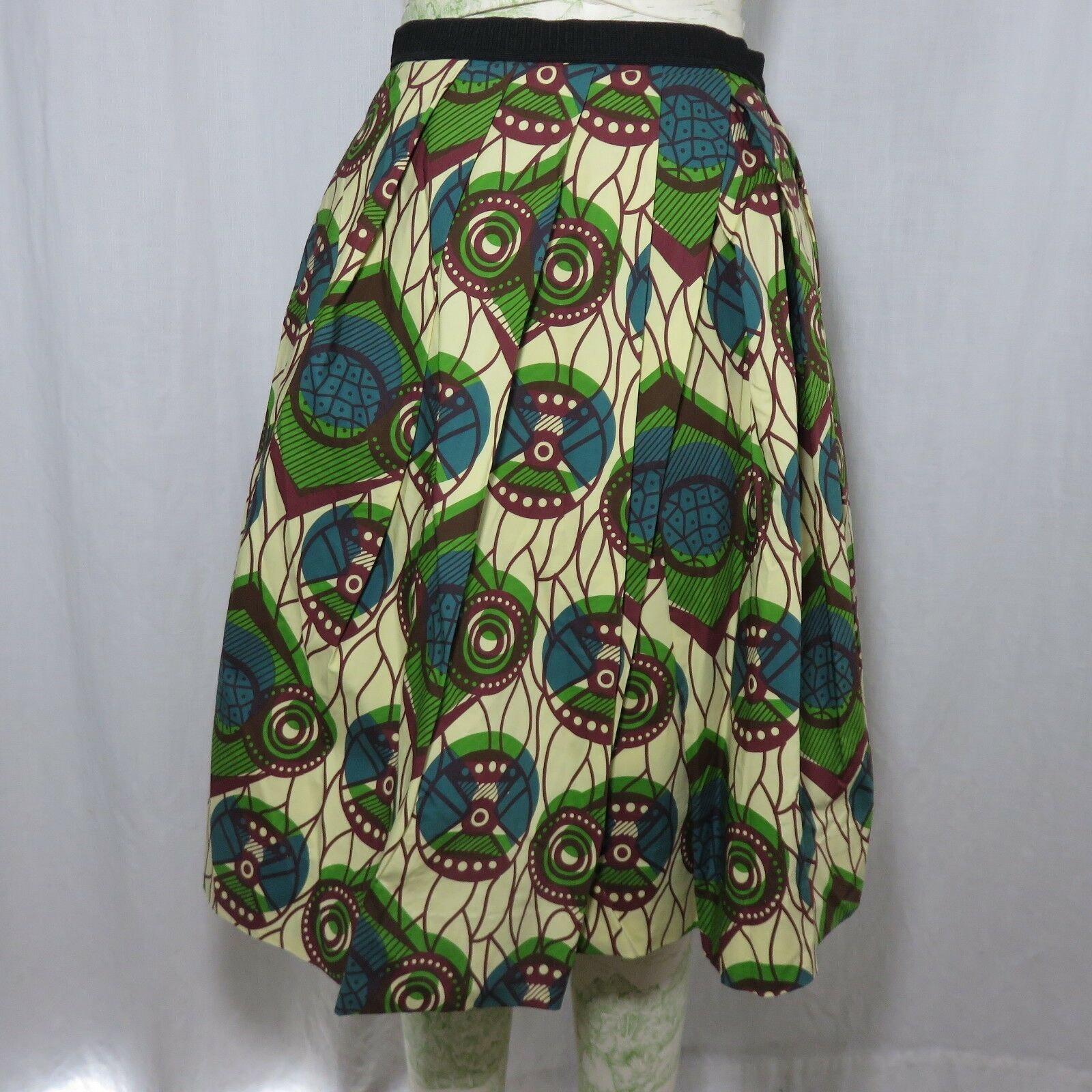 New Marni Mixed Tribal Print Pleated Skirt 6 Turquoise bluee Green Brown