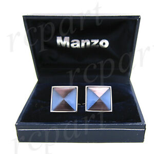 New-Men-039-s-Cufflinks-cuff-links-square-mother-of-pearl-blue-purple-triangle