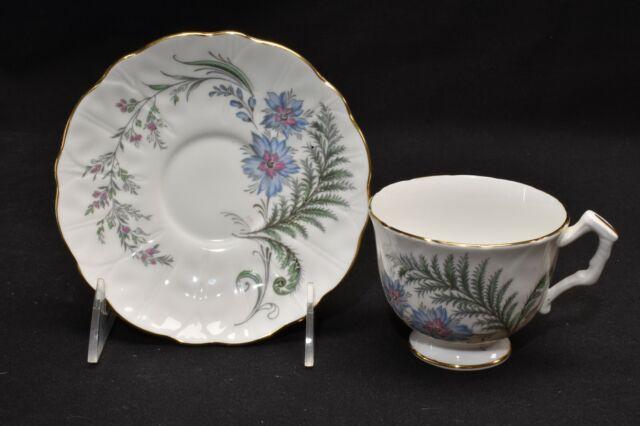 Aynsley Fern Blue Flower Cup & Saucer