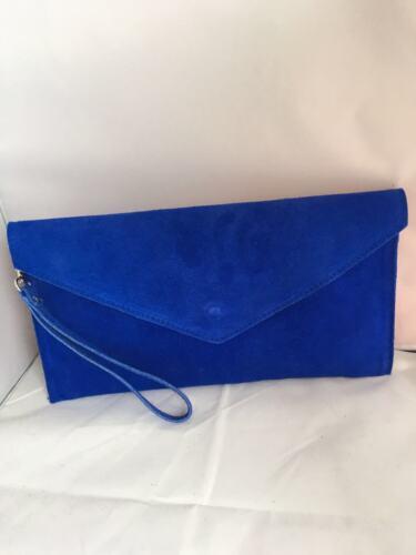 Italian Designer Patent Faux Suede Leather Envelope Clutch Bag Handbag Purse