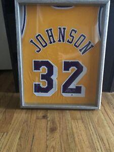 huge discount ebc35 f460e Details about FRAMED Magic Johnson Autographed Jersey LA Lakers GOLD/  Beckett COA!