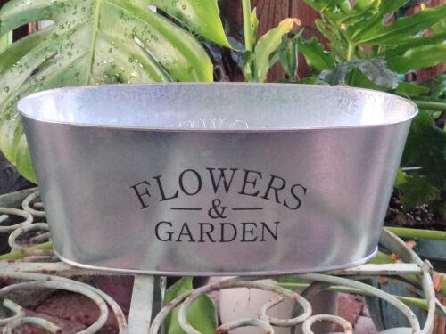 Galvanized Tin Holder Flowers /& Garden Vintage Style French Country Farmhouse