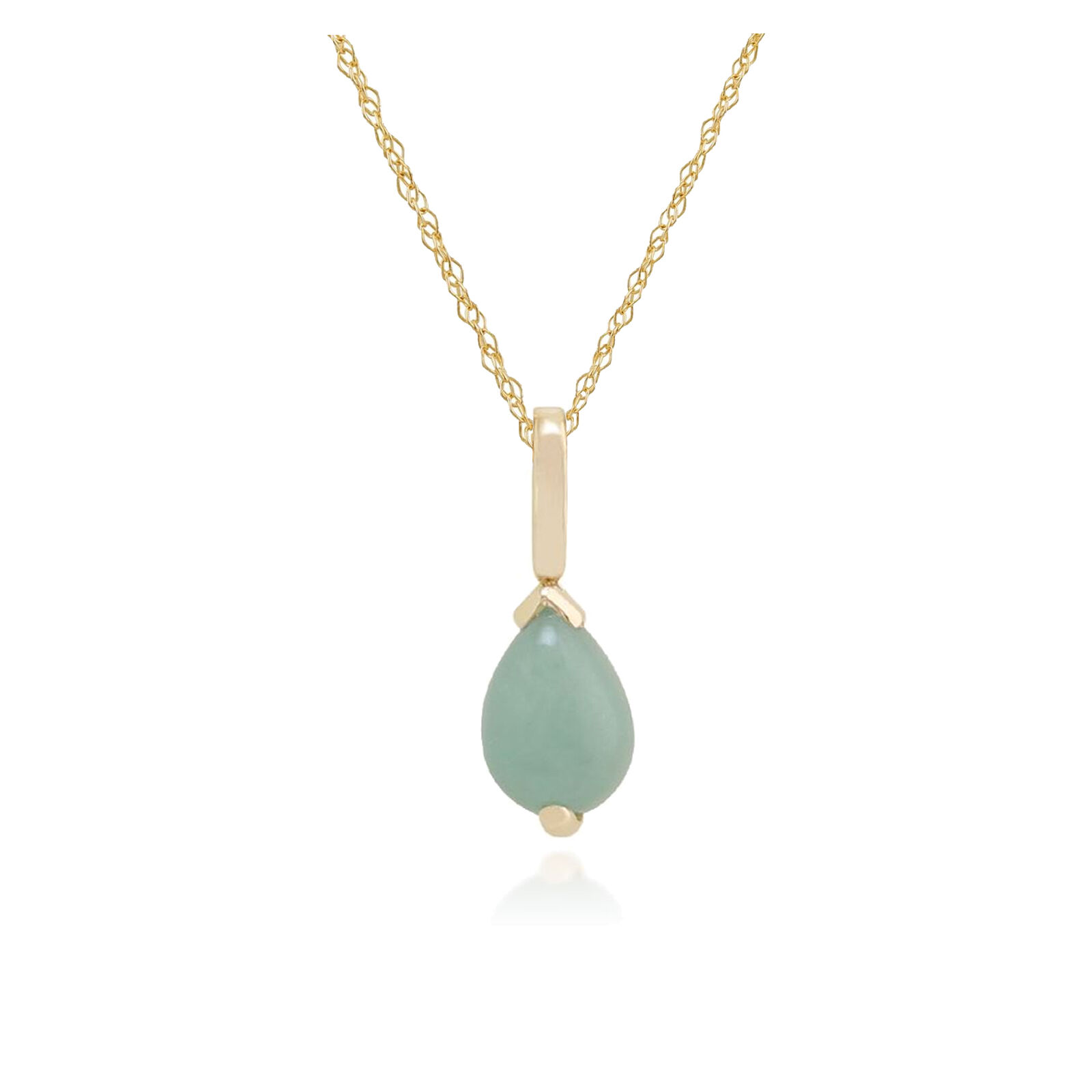Gemondo 9ct Yellow gold 0.74ct Green Jade 3 Claw Set Pear Pendant on 45cm Chain