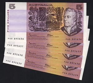 R-209a-1985-Johnston-Fraser-5-Dollars-OCRB-aU-UNC-CONSEC-Run-of-4