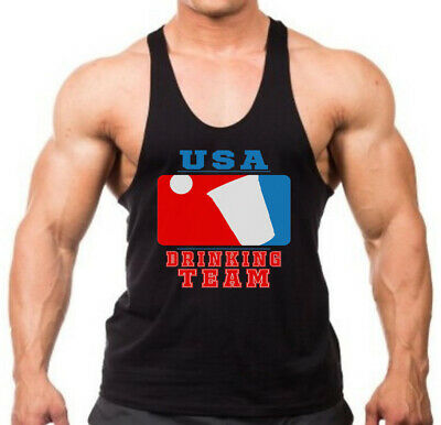 Mens USA Drinking Team KT T35 Black Sleeveless Vest Hoodie