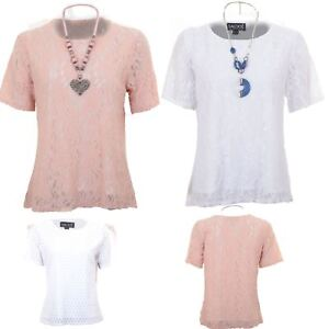 528f079b7477 Womens Short Sleeve Floral Lace Overlay Plus Size Lined Top Flared ...
