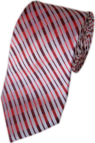 Handgefertigte Herren Luxus Seiden-Krawatte Gestreift Rot Silber-Grau K 171.3