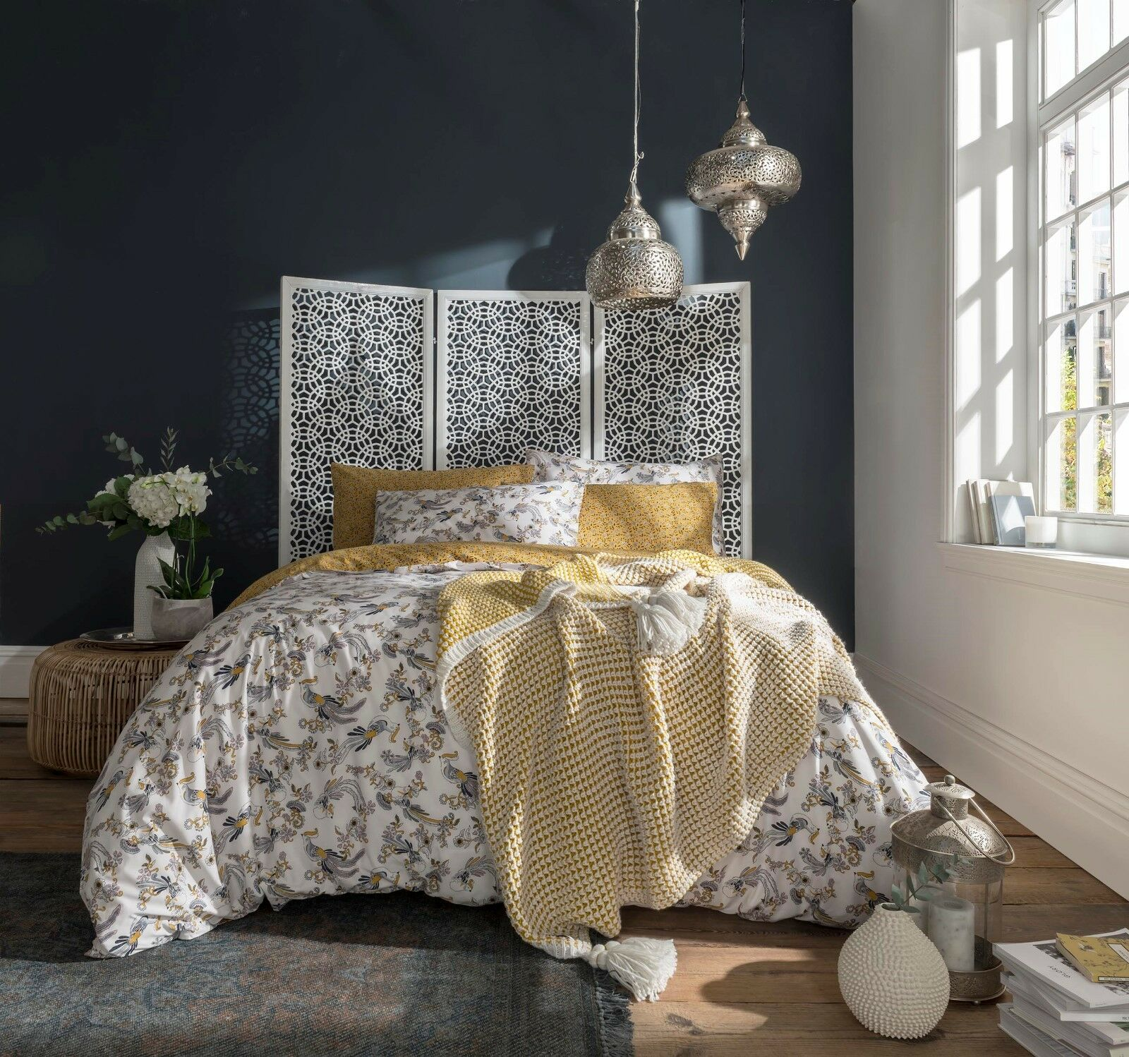 Fat Face Bedding - Oriental Bird 100% Cotton Ochre Duvet Cover Set or Throw