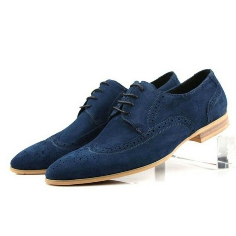Handmade Men's Genuine bluee Suede Oxford Brogue Wingtip Lace Up Classic shoes