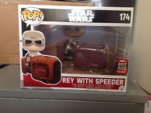 Star Wars Pop!   Vinyl Bobble Rey avec Speeder 2017 Galactic Convention Exclusive