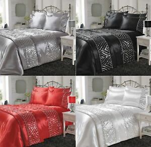 Shimmer Shiny Luxurious Satin Silk Laces Duvet Covers Bedding Sets