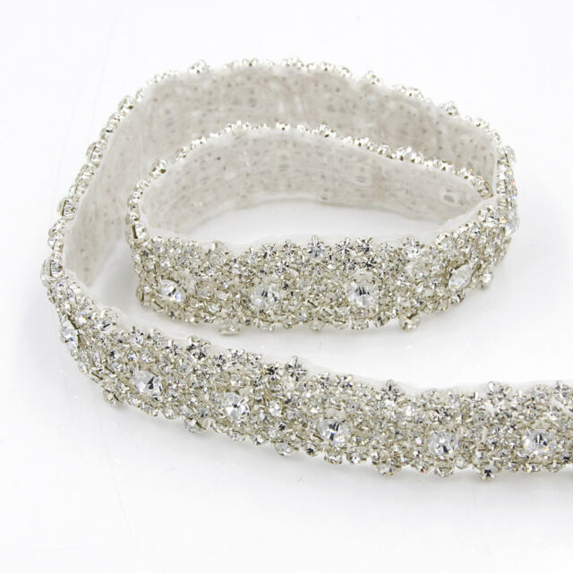 1yd Crystal Rhinestone Beaded Trim Sewing Wedding Dress Sash Lique Silver Diy