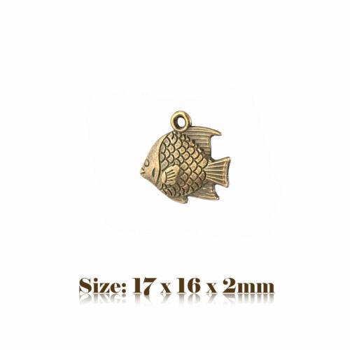 10 Bronze Antique Vintage Style Fish Charms Pendant Steampunk 102