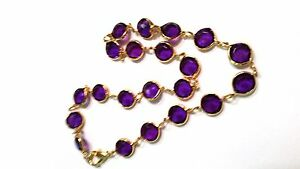 Purple-lucite-with-gold-tone-trim-short-Vintage-Necklace-18-inches-New-Old-Stock