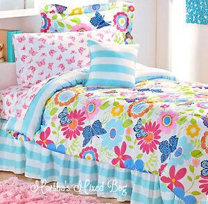 Butterfly Summer Daisy Blossom Girl Pink Blue Comforter