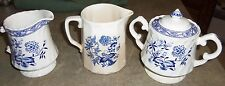 Old Vienna blue Wood & Son  Creamer sugar bowl  Burslem England