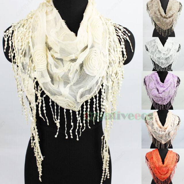 Stylish Women's Dot Lace Trim Tassel Floral  Solid Triangle Scarf Shawl Wrap New