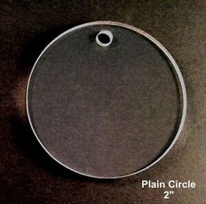 "(10) 2"" Plain Circle Clear Acrylic 1/8' Thick Keychain Blanks"