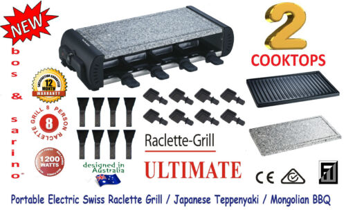 BOS /& SARINO Swiss Raclette Cheese Steak Chargrill BBQ 2 Cooktop 8 Person Party