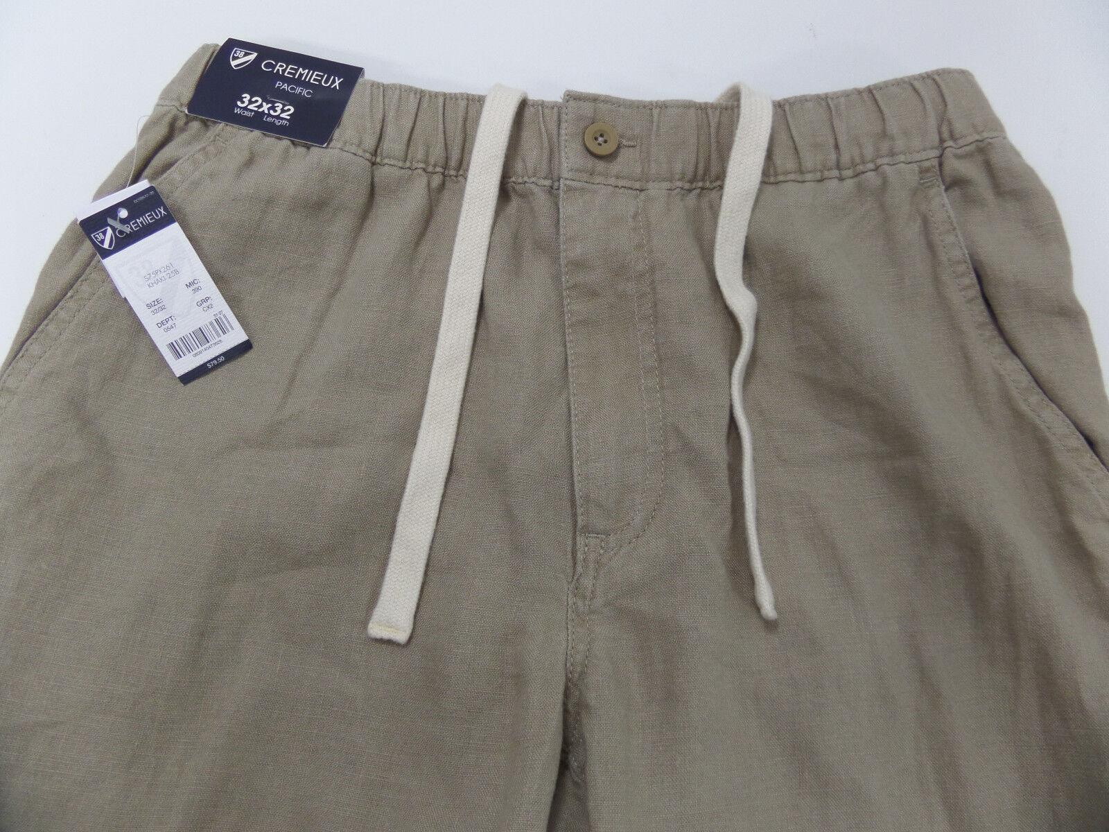 NWT - Mens CREMIEUX Flat Front Khaki LINEN Pants (32 x 32)
