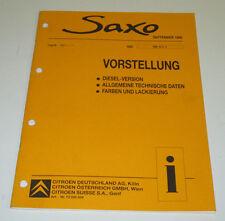 Werkstatthandbuch Citroen Saxo Vorstellung Diesel Lackierung  Stand 09/1996!