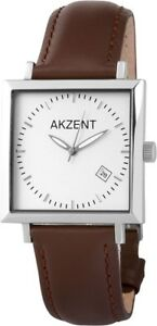 Akzent-Herrenuhr-Silber-Braun-Analog-Datum-Echt-Leder-Metall-X352322629001