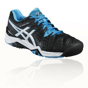 Asics-Homme-Gel-Resolution-6-Tennis-Chaussure-Noir-Bleu-Blanc-Sports-Respirant