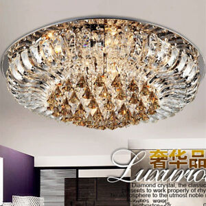Led Modern K9 Clear Crystal Ceiling Light Pendant Lamp Lobby