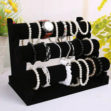 3 Tiers Velvet Necklace Jewelry Bangle Bracelet Organizer Holder Display Stand