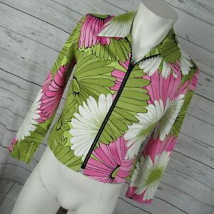 Joseph-Ribkoff-6-Jacket-Shirt-Womens-Green-Pink-Floral-Zip-Up-Lightweight