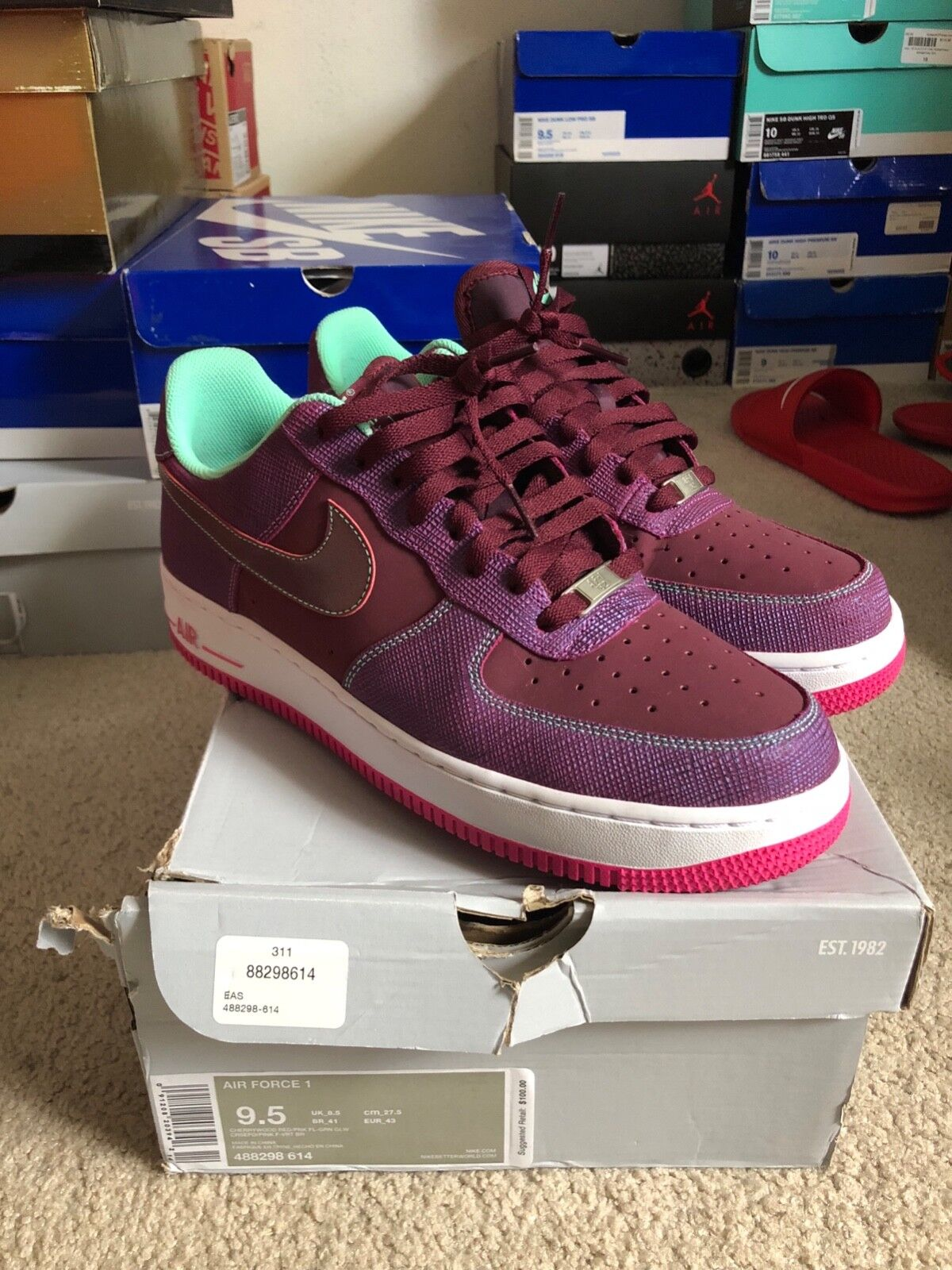 Nike Air Force 1 1 1 Low Cherrywood Red Pink 488298 614 2ae95c