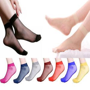 10-Pairs-Ultra-thin-Women-Sexy-Elastic-Silky-Short-Silk-Stockings-Ankle-Socks-w