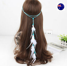 Women Girl BOHO Blue Suede Feather Beach Hair head band Headband Strap Wrap belt