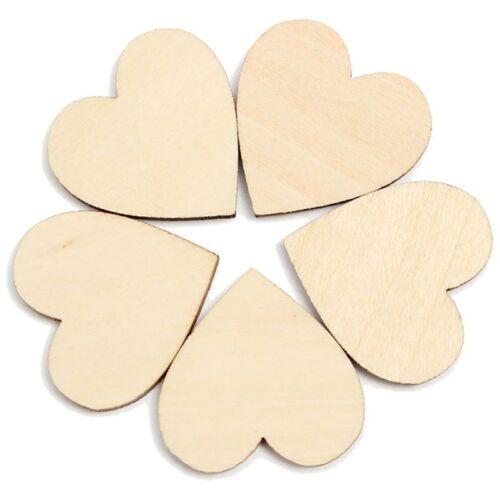 ular 50Pcs Wooden Love Hearts Shapes Embellishments Heart Plain Craft FO
