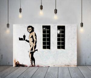 BANKSY FASTFOOD APEMAN -FRAMED CANVAS GRAFFITI WALL ART PICTURE PAPER PRINT- BW