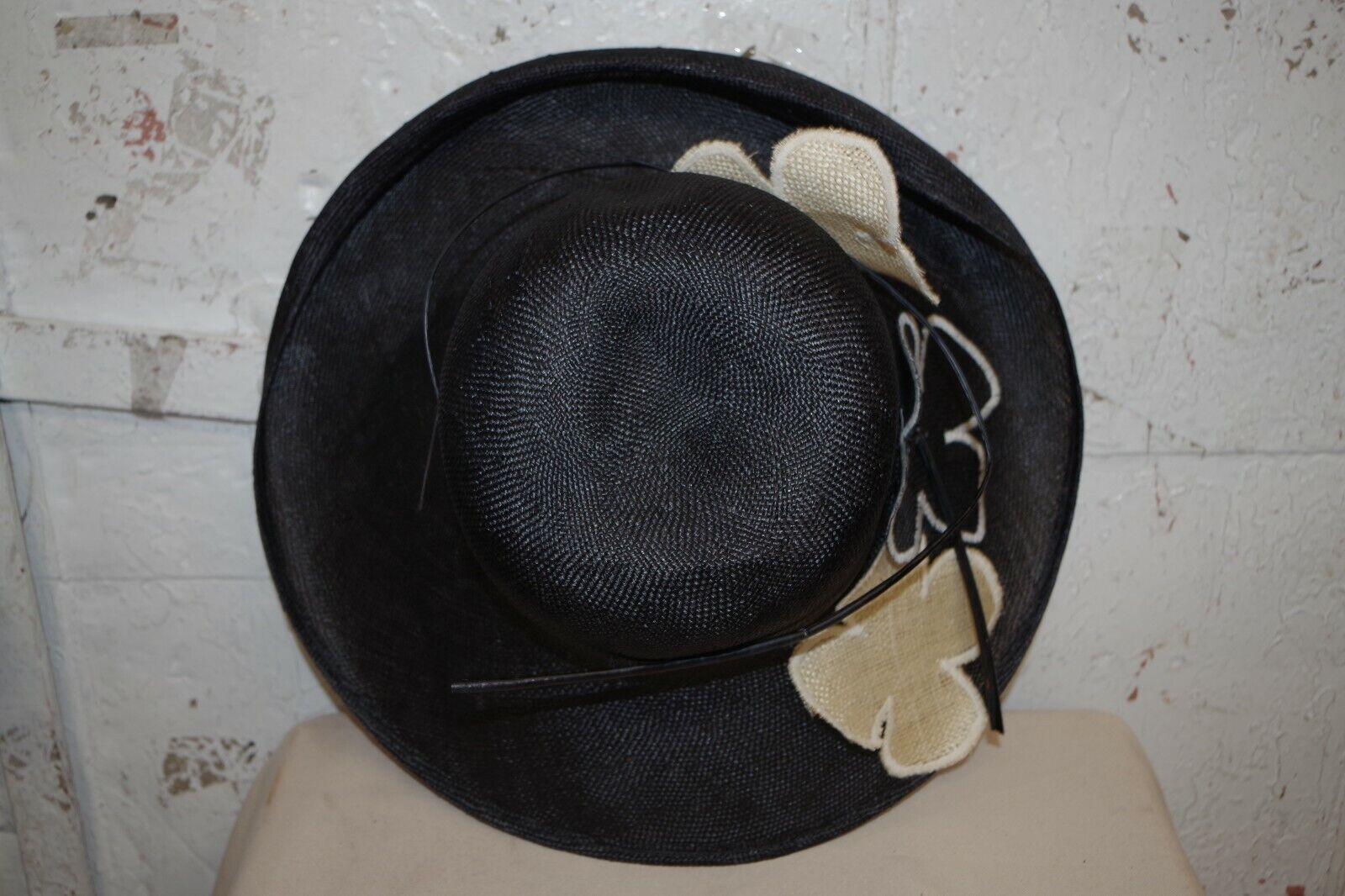 MEDICI WIDE BRIM STRAW HAT WIDE BRIM BLACK & TAN … - image 11