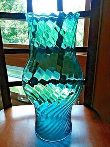 Glass Hurricane Lamp Shade Swirl Optic, Blue Glass Hurricane Lamp
