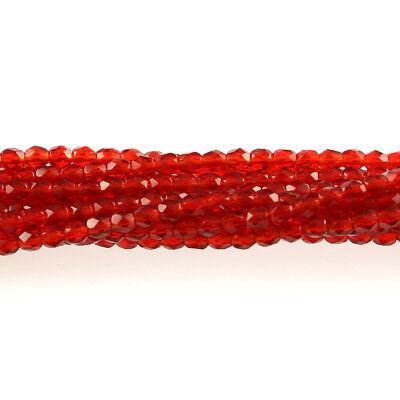 50 3mm Faceted Round Fire Polish Czech Glass Beads Garnet Red Transparent