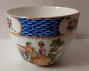 Antique-Meissen-Watteau-Courting-Couple-Demitasse-Cup-NO-SAUCER