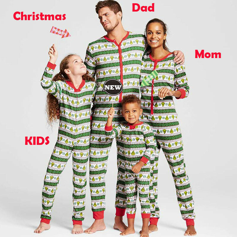 US Family Matching Christmas Pajamas Set Women Baby Kid Slee